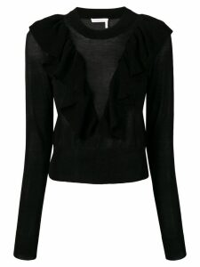 See By Chloé sheer ruffled pullover - Black