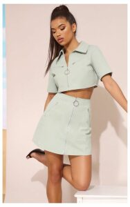 Mint Zip Detail Mini Skirt, Green