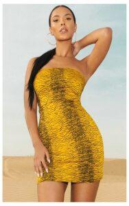 Tiger Bandeau Bodycon Dress, Yellow