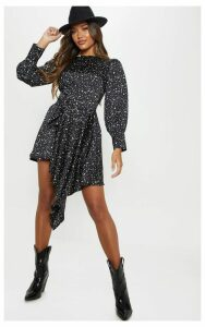 Monochrome Dalmatian Print Balloon Sleeve Belted Asymmetric Skater Dress, Black