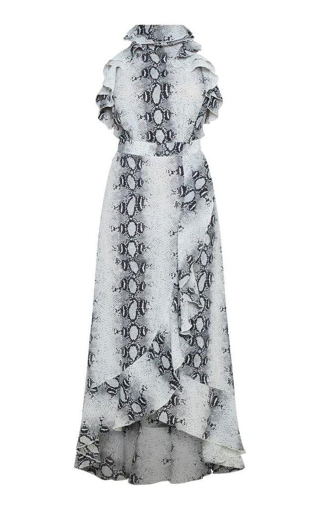Grey Snake Print Frill Detail Wrap Maxi Dress, Grey