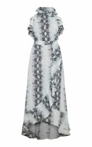 Grey Snake Print Frill Detail Wrap Maxi Dress, Grey