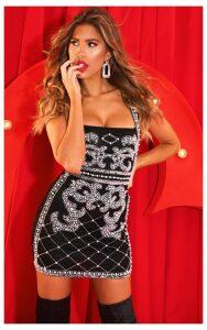 Black Beaded Sequin Bodycon Dress, Black