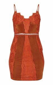 Rust Strappy Lace Velvet Insert Bodycon Dress, Orange