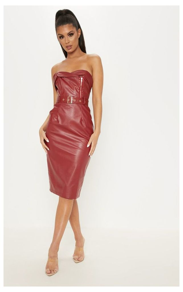 Oxblood Faux Leather Belted Midi Dress, Red