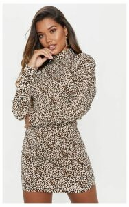 Leopard Print High Neck Long Sleeve Ruched Bodycon Dress, Animal