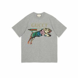 Oversize cotton T-shirt with tiger