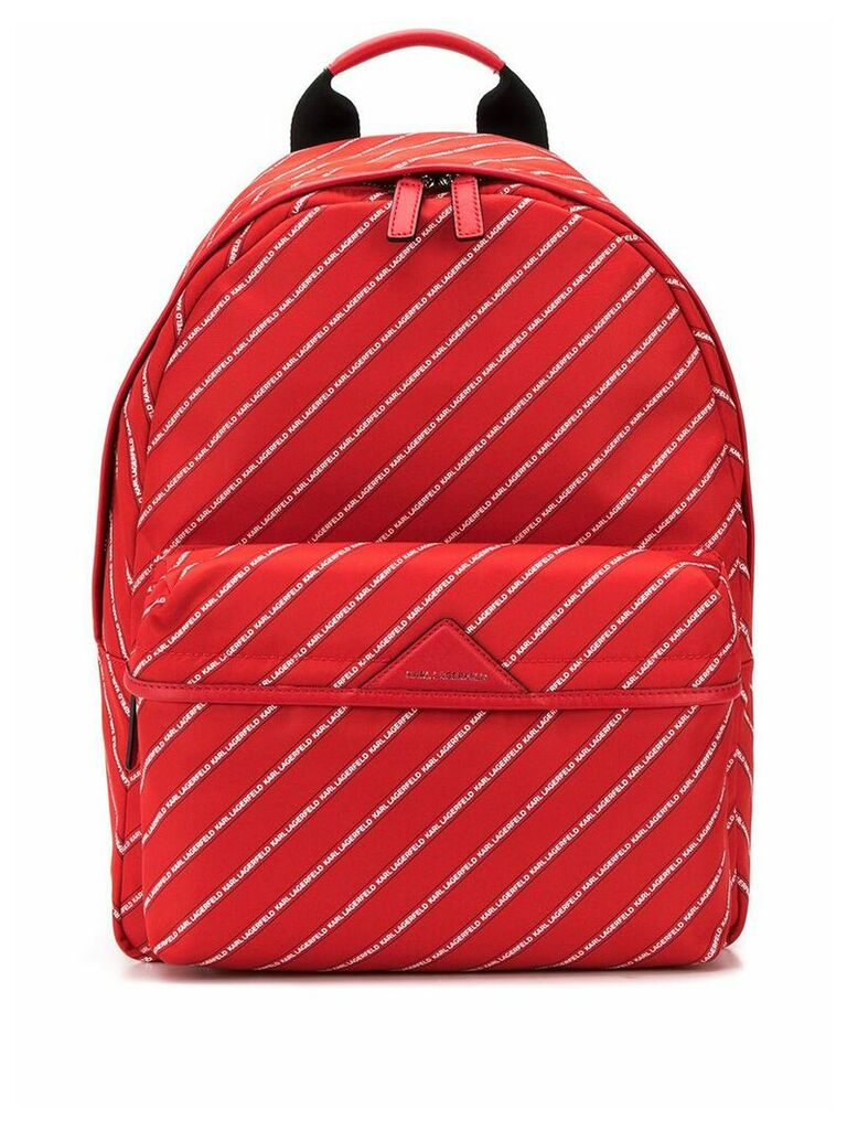 Karl Lagerfeld Stripe Logo Backpack - Red