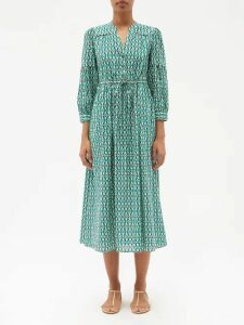 Saint Laurent - Double Breasted Gabardine Trench Coat - Womens - Beige