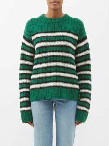 Saint Laurent - Double Breasted Gabardine Trench Coat - Womens - Beige
