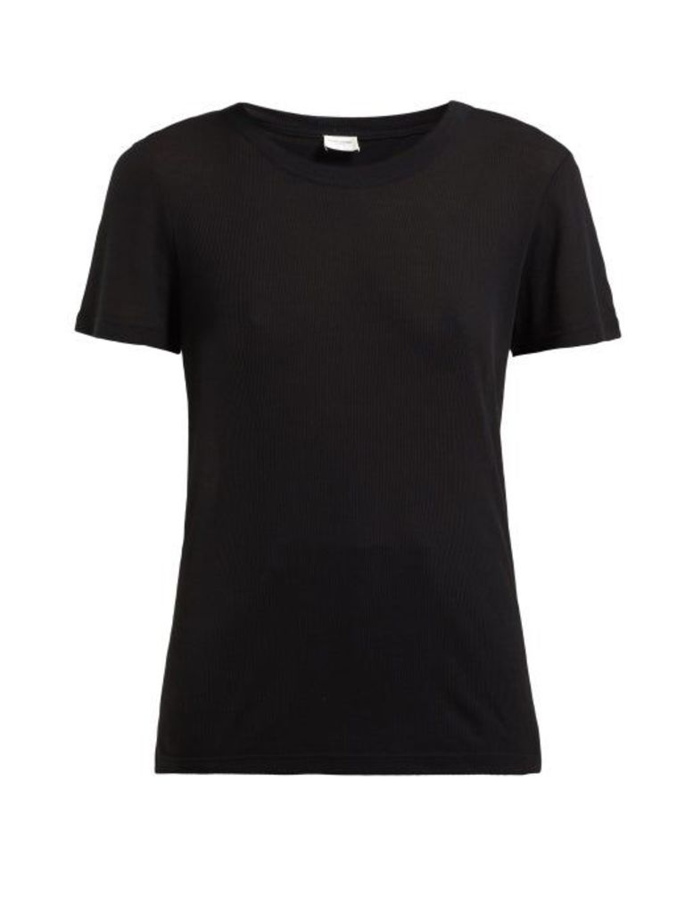 Saint Laurent - Ribbed Knit Modal Blend T Shirt - Womens - Black