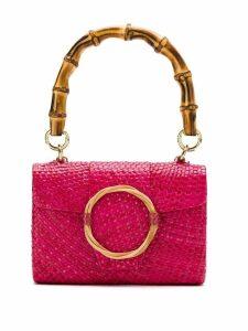Serpui straw embellished clutch - Pink