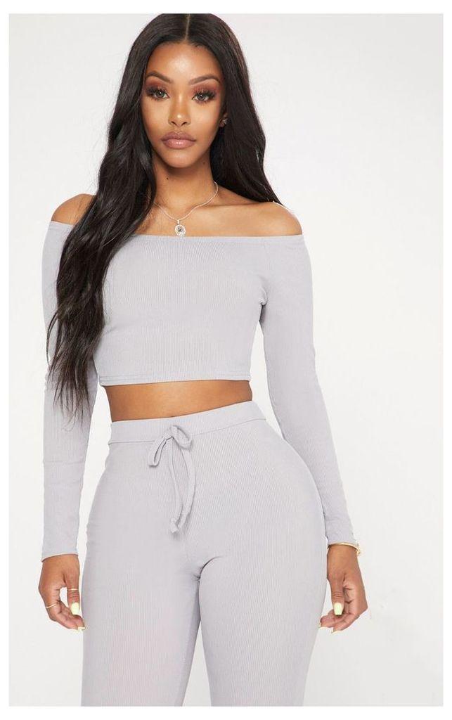 Shape Grey Marl Ribbed Bardot Long Sleeve Crop Top, Grey