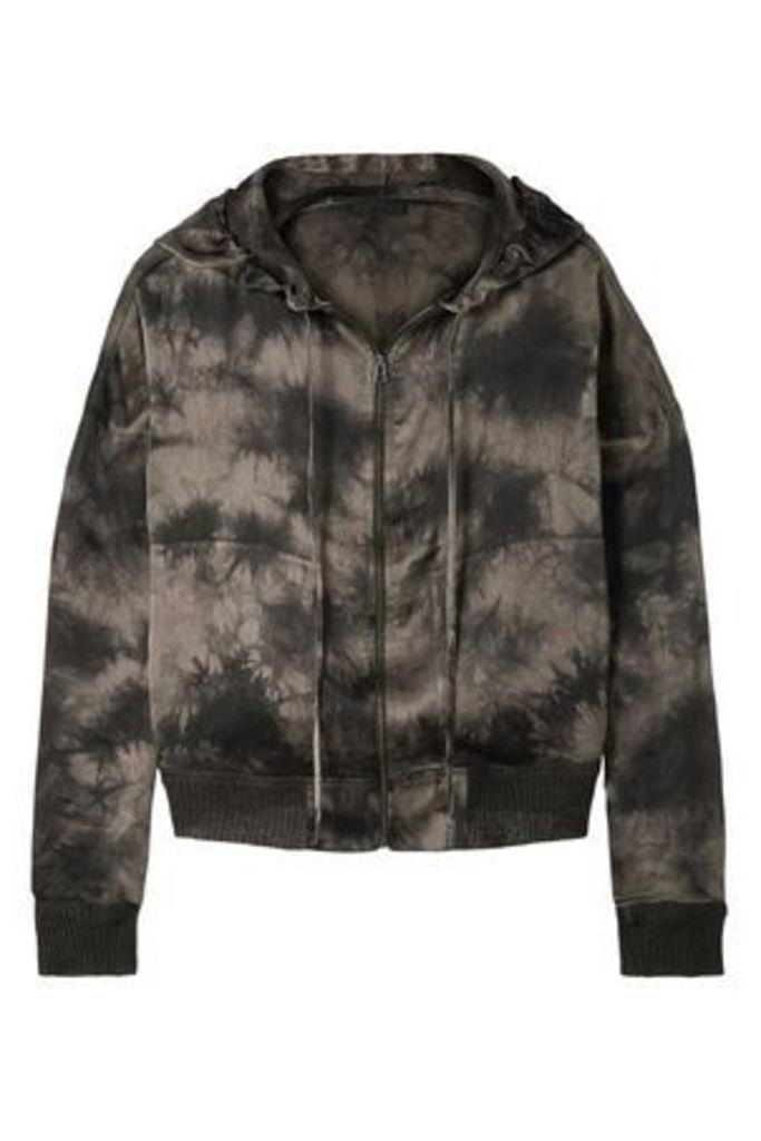 Atm Anthony Thomas Melillo Woman Tie-dye Satin Bomber Jacket Taupe Size L