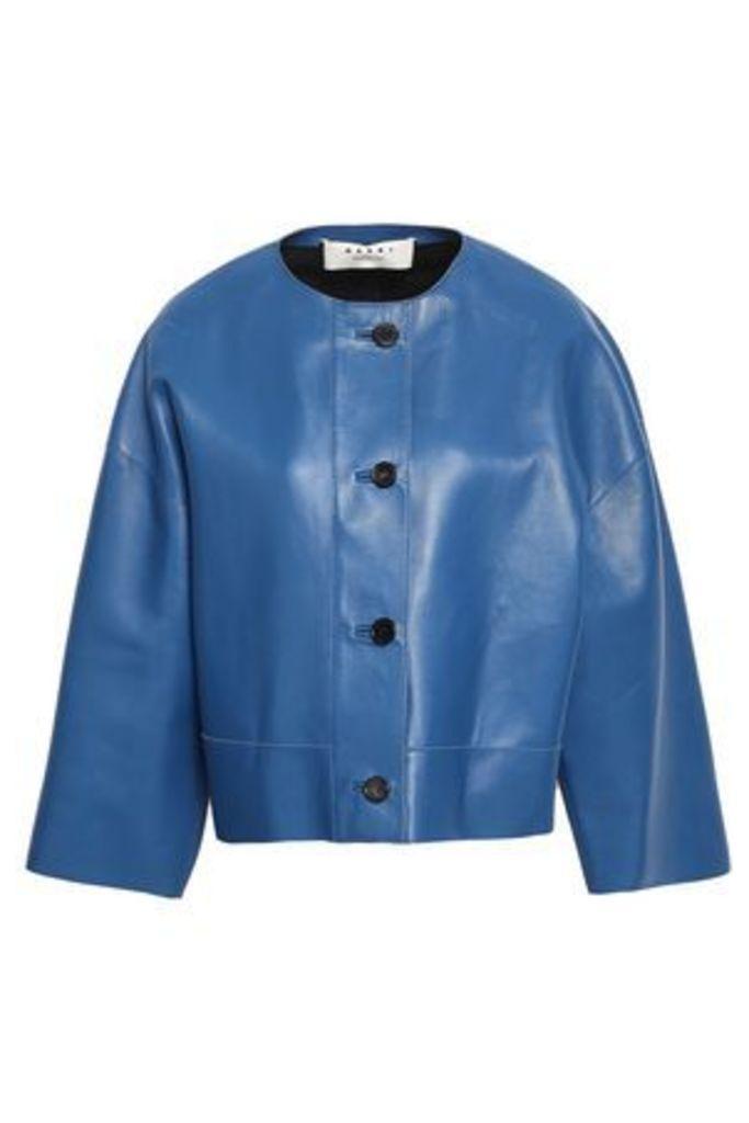 Marni Woman Leather Jacket Cobalt Blue Size 40