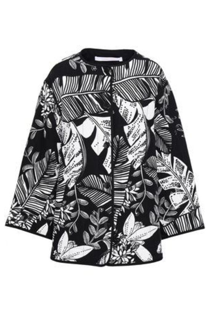See By Chloé Woman Printed Linen And Cotton-blend Jacket Black Size 40