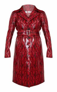 Red Snake Vinyl Trench Coat, Red