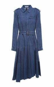 J.W. Anderson Pleated Cotton-denim Belted Midi Dress