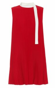 RED Valentino Bow-detailed Pleated-crepe Mini Dress