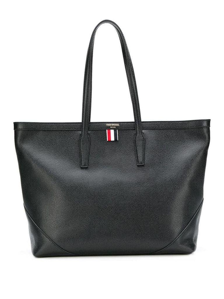 Thom Browne textured large shopper tote - Black