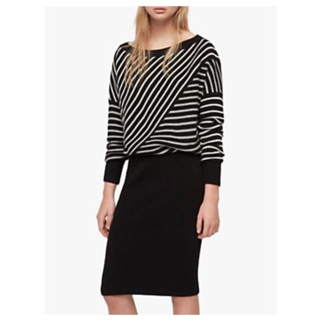 AllSaints Vani Knitted Dress, Black/Chalk White