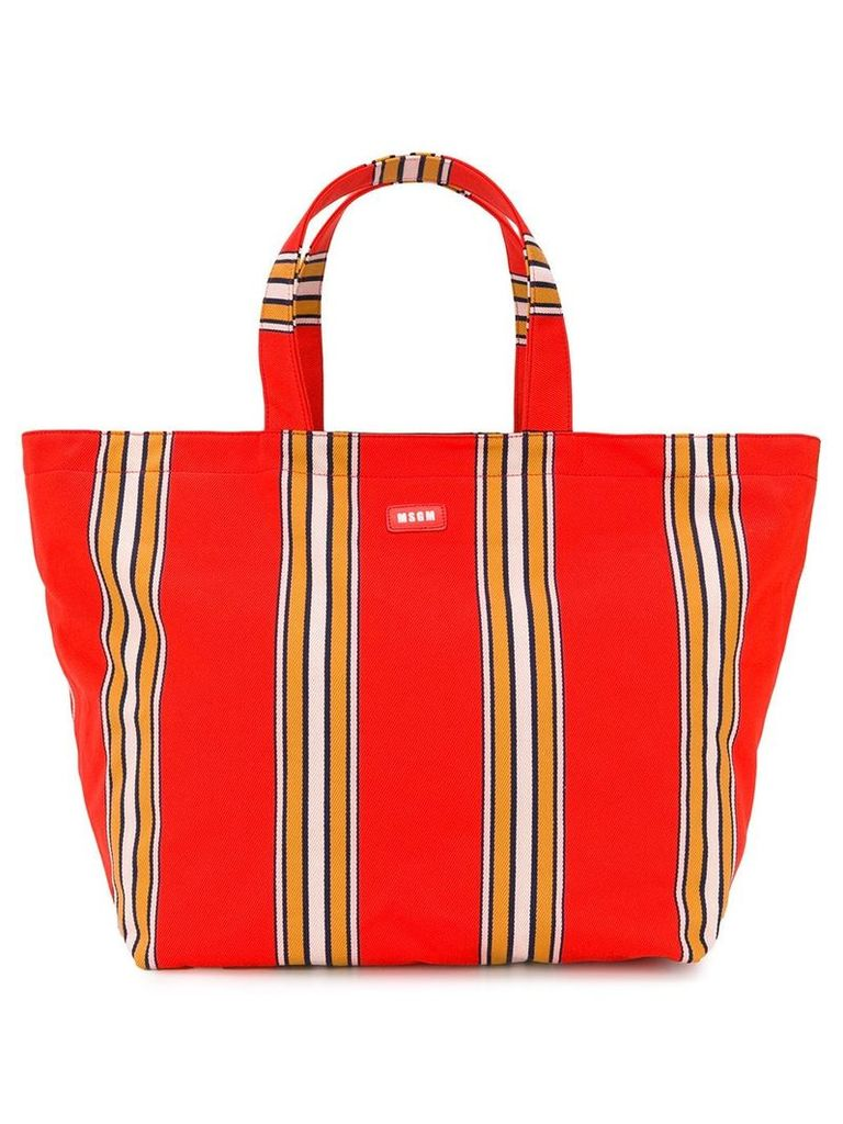 MSGM striped canvas maxi shopper - Orange