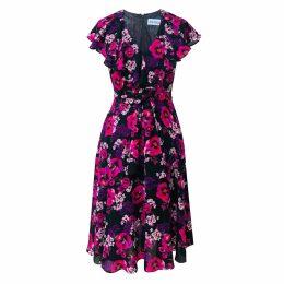 Nissa - Satin Midi Dress With Lace & Tassels