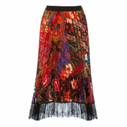 Nissa - Pleated Midi Satin Skirt With Lace