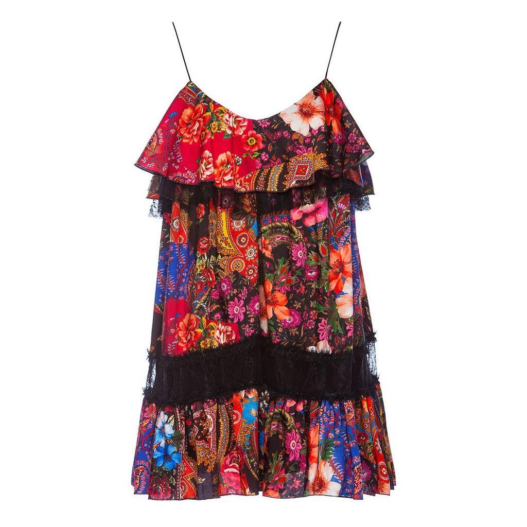 Nissa - Satin Mini Dress With Lace Inserts