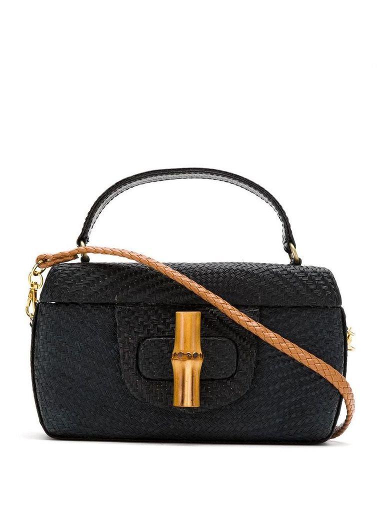 Serpui straw shoulder bag - Black