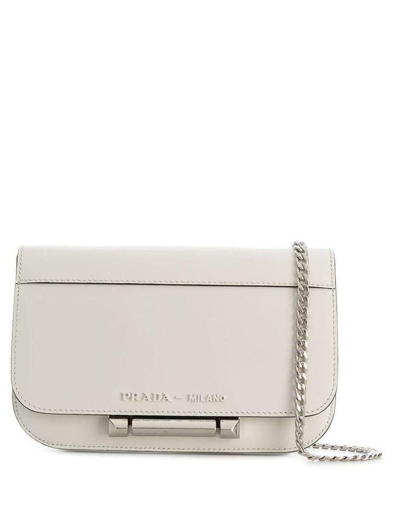 Prada plaque-embellished shoulder bag - White