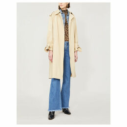 Balzac contrast-belt stretch-cotton coat