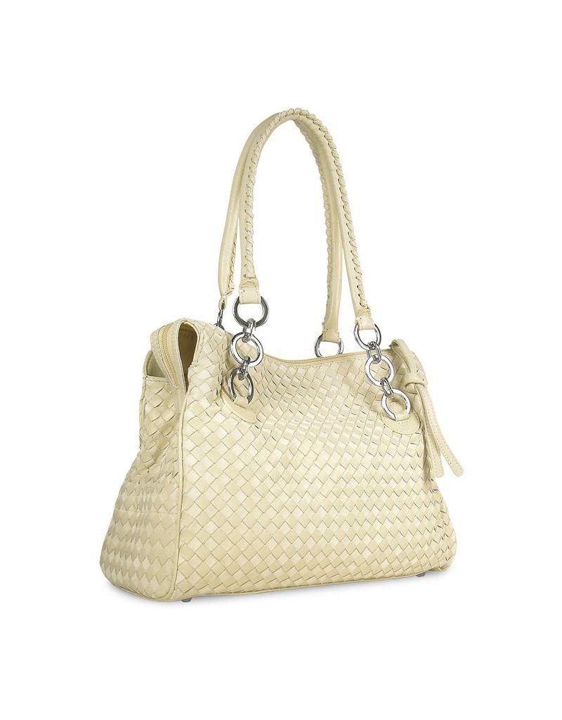 Fontanelli Designer Handbags, Ivory Woven Italian Suede & Leather Satchel Bag