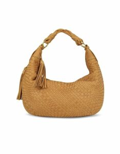 Fontanelli Designer Handbags, Tan Washed Woven Leather Gusset Hobo Bag