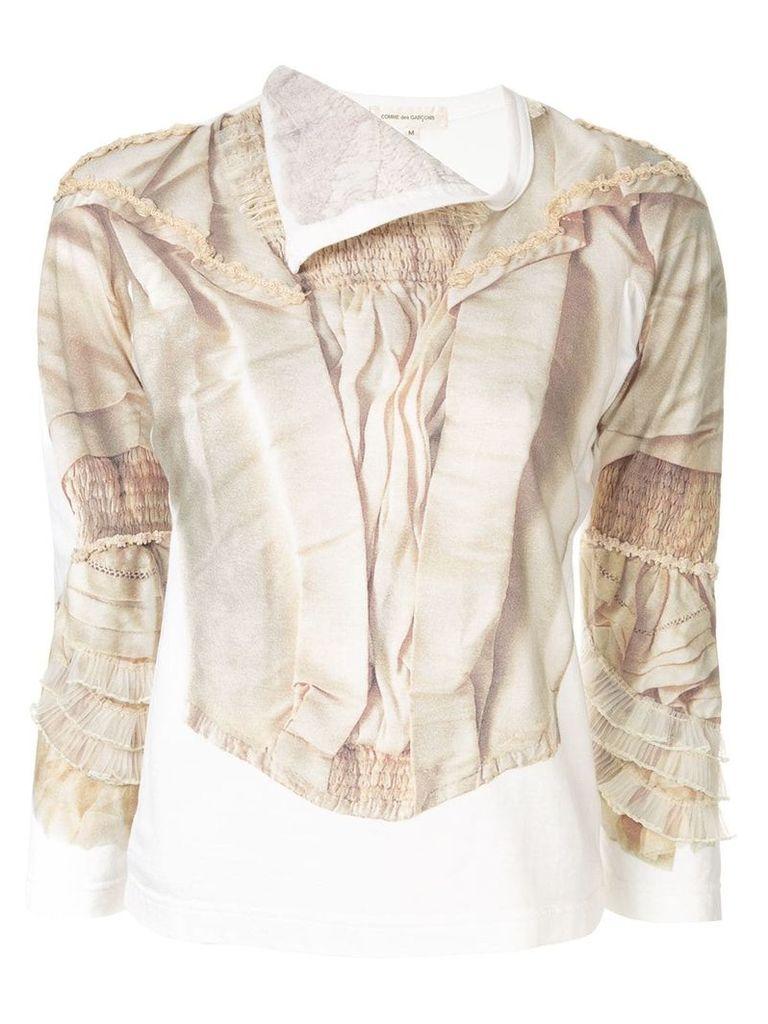 Comme Des Garçons Vintage lace print ruffled T-shirt - White