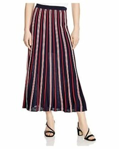 Sandro Loukas Pleated Striped Midi Skirt
