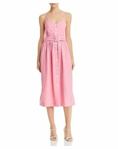 S/W/F Belted Button-Front Midi Dress