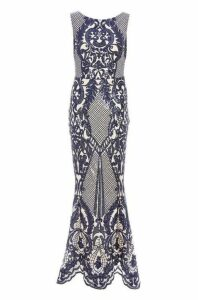 Quiz Navy And Nude Sequin Mesh High Neck Fishtail Maxi Dress