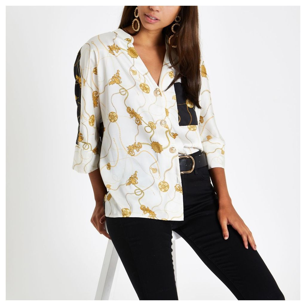 Womens Cream chain print button front blouse