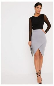 Aislynn Grey Wrap Midi Skirt, Grey