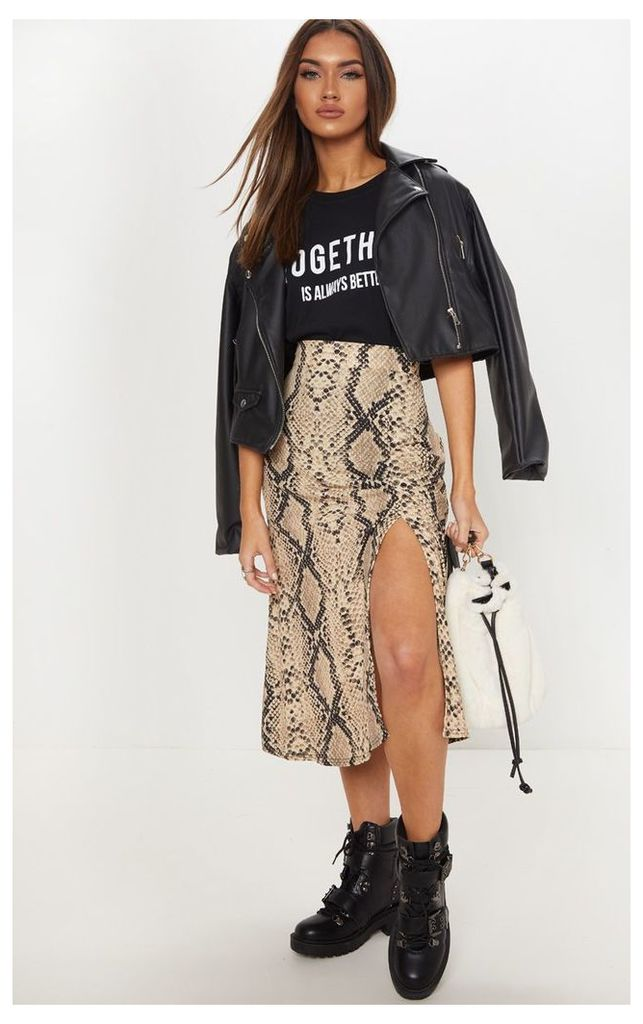 Snake Print Floaty Midi Skirt, Multi