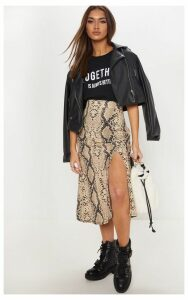 Snake Print Floaty Midi Skirt, Multi