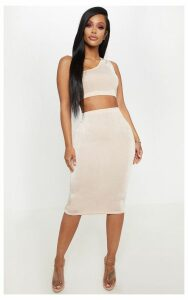 Shape High Waisted Nude Slinky Midi Skirt, Pink