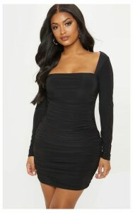Shape Black Slinky Square Neck Ruched Front Bodycon Dress, Black