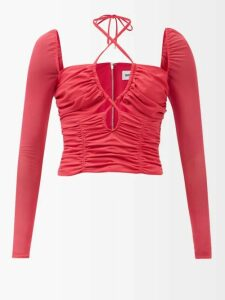 Gül Hürgel - Cap Sleeve Gathered Linen Midi Dress - Womens - Black