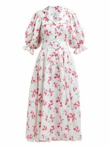 Gül Hürgel - Floral Print V Neck Linen Midi Dress - Womens - Pink White