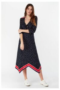 Womens Monsoon Ladies Navy Gili Print Hanky Hem Dress -  Blue