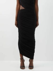 Fendi - Checked Double Breasted Wool Blend Coat - Womens - Blue Multi