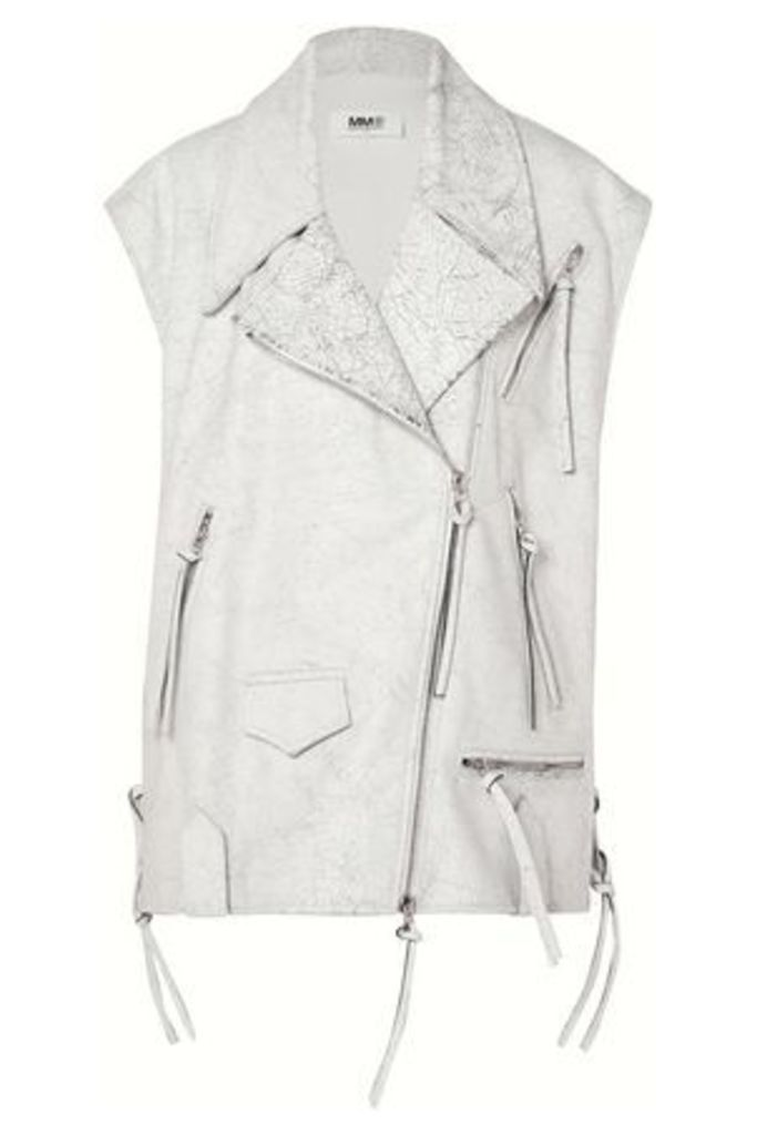 Mm6 Maison Margiela Woman Cracked-leather Biker Vest White Size 40