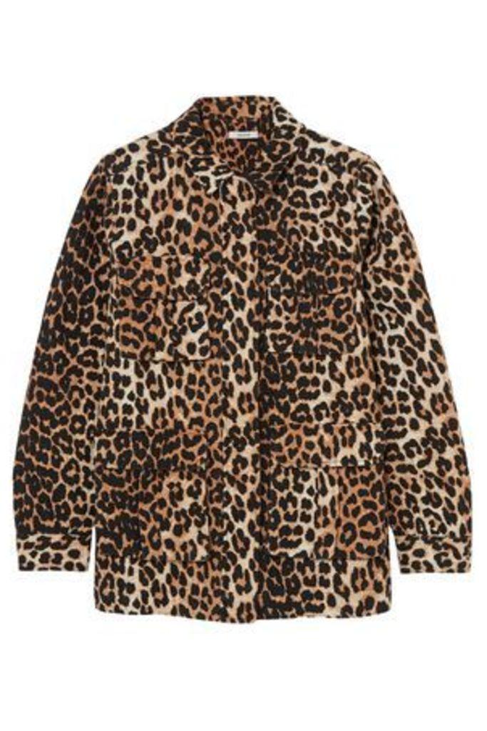 Ganni Woman Camberwell Leopard-print Linen And Cotton-blend Canvas Jacket Animal Print Size 38
